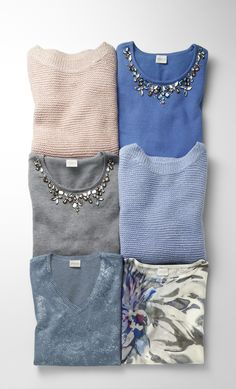 Subtle Shine Naomi Pullover Sweater, Embellished Neckline Belle Sweater, Printed Foil Piper Sweater and Watercolor Floral Annie Pullover. #chicossweeps