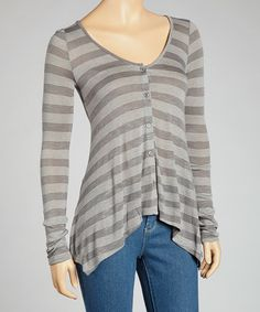 Take a look at this Gray Stripe Button-Up Top by Clothing Showroom on #zulily today!
