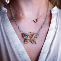 macrame butterfly necklace
