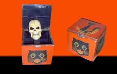 Vintage Halloween Collectibles ~ Skull in the Box Toy * Black Cats