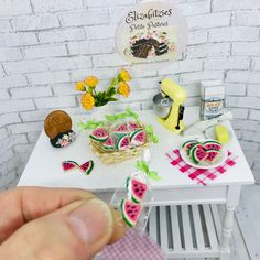Miniature Crafts, Miniature Food, Miniature Dolls, Miniature Houses, Watermelon Sugar Cookies, Tiny Food, Cellophane Bags, Mini Things, Miniture Things