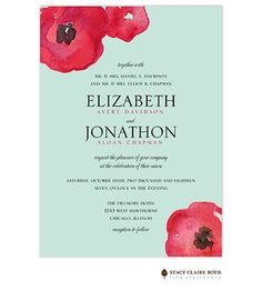 Stacy Claire Boyd Painted Poppies Wedding Invitation, rustic, vintage, watercolor, new designs available from Note Worthy