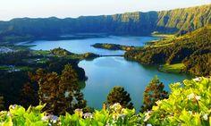 Lagoa das Sete Cidades. Azores - Portugal   Seven cities around a volcano crater lake