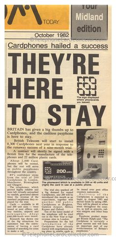 October 1982 - Cardphones hailed a success - They're here to stay.