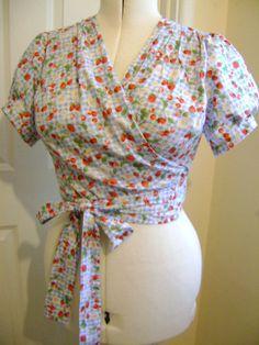 1940s style wrap top size 14/16 cherry by Emilylovespretties, £26.00