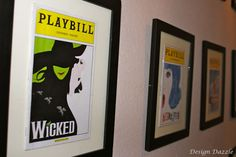Great idea for a media room or playroom! Frame programs from the broadway/other musicals that you have been to. #playbills #wall_art