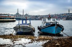 Istanbul Golden Horn boats at sea stock photo