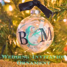 A personal Christmas ornament made from a wedding invitation! While great to make for yourself, it is also such a sweet gift to give. You could also change it up and use a graduation invite or birth announcement for all the big moments of the year!