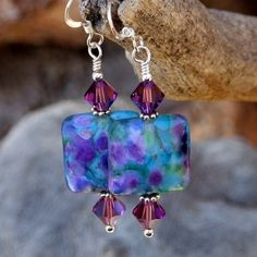 Lampwork Handmade Earrings Swarovski Sterling Purple Aqua OOAK Beaded | ShadowDogDesigns - Jewelry on ArtFire