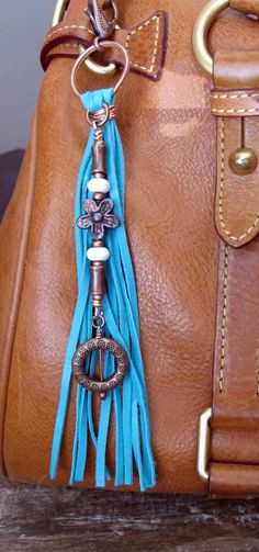 Purse Charm, Tassel, Zipper Pull, Key Chain - Chunky Turquoise Deerskin Suede,  Bright & Antiqued Copper Charms, Ivory Stone, Gypsy Boho