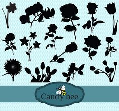 Flower Silhouette Flower Clip art Silhouette by CandyBeeDesigns