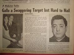 Newspaper Headlines, Old Newspaper, Joe Gallo, Colombo Crime Family, Daily News Paper, Mafia Crime, Real Gangster, Mobsters, Gangsters