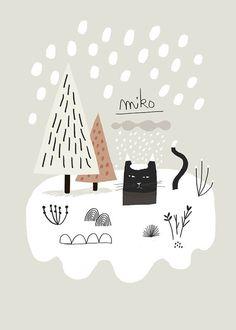 Items similar to Miko Snow / Art Print / Giclee Print / Poster / Illustration / Black Cat on Etsy - Size: 21 x cm / x cm Impression Numérique Sur papier Signé - Art And Illustration, Illustration Inspiration, Illustration Mignonne, Graffiti, Baby Poster, Doodles, Snow Art, Poster Prints, Art Prints