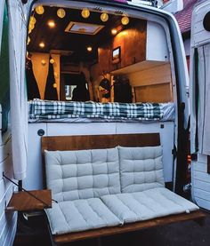 Couple's Van Life with a Tailgate Loveseat on their DIY VW Crafter Conversion - wohnmobil - Van Conversion Interior, Camper Van Conversion Diy, Van Interior, Diy Van Camper, Ford Transit Camper Conversion, Van Conversion With Toilet, Ford Transit Rv, Van Conversion Seats, T4 Camper Interior Ideas