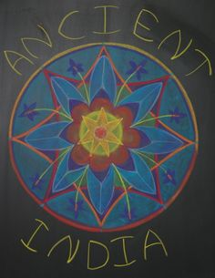 Waldorf ~ 5th grade ~ Ancient India ~ Title Page ~ Lotus Flower Mandala ~ chalkboard drawing