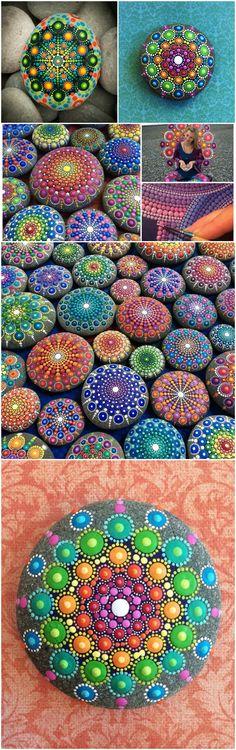 Easy Paint Rock For Try at Home (Stone Art & Rock Painting Ideas) Mandala Stone Tutorial Mandala Art, Mandalas Painting, Mandala Rocks, Mandala Design, Mandala Painted Rocks, Pebble Painting, Dot Painting, Pebble Art, Stone Painting