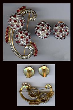Reja Gorgeous Vintage Sterling Silver Rhinestone Retro Pin Earrings Set | eBay