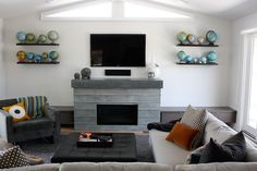 Concrete Sink, Concrete Fireplace, Concrete Furniture, Concrete Design, Concrete Countertops, Fireplace Gallery, Custom Fireplace, Wave Design, Living Spaces