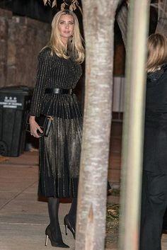 Ivanka Trump wearing Alexander McQueen Contrast Stitch Pleated Midi Skirt and Alexander McQueen Contrast Stitch Top