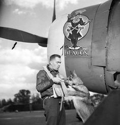 "P-47 ""The Deacon"" Pilot and Mascot, 4th Fighter Group, England 1943"