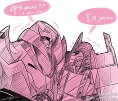 megatron and Nemesis Prime ,how i wish i can see this moment T-T .. so i draw this to meet what i want to see lol ,mega is shying now >3