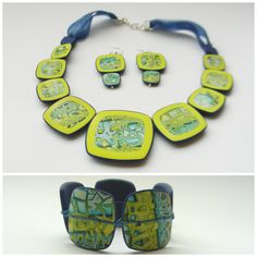 mokume gane polymer clay necklace, earrings and bangle by TitSorciere