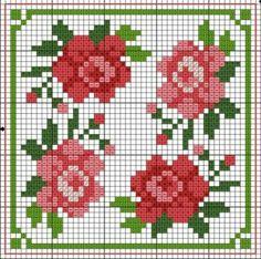 Roses Biscornu pattern
