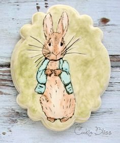 Peter Rabbit hand painted decorated sugar cookies for a first birthday.  Beatrix Potter characters, cookie art.  By Cookie Bliss