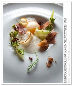 In beurre noisette blanched flowers and vegetables,dried cooked ham, egg yolk, highly concentrated chicken broth