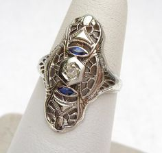 Diamond and Blue Spinel Filigree Dinner Ring by KlinesJewelry, $275.00