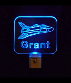 """Personalized #Kids #SpaceShip LED Night Light - #UniqueLEDProducts ♦3D Engraved 3/8"""" clear #acrylic #multicolor #handmade"""