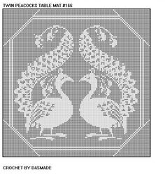#166 Twin Peacocks Filet Crochet Doily Mat Afghan Bedspread Curtain Pattern    ******************************************    Size 5 thread --------------- Using Crochet Cotton no. 5: 1900 yds, steel