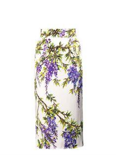 Wisteria-print pencil skirt   Dolce & Gabbana   MATCHESFASHION...