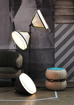 'Drumbox Floor Lamp by Diesel Living with Foscarini. Contemporary Floor Lamps, Modern Floor Lamps, Diesel, Home Lighting, Lighting Design, Unique Lamps, Home And Deco, Decoration, Modern Furniture