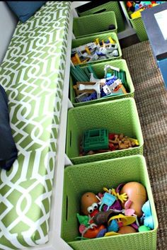 Storage needs - Tall narrow bookcase laid on it's side & baskets! Make cushion for a seating area too.
