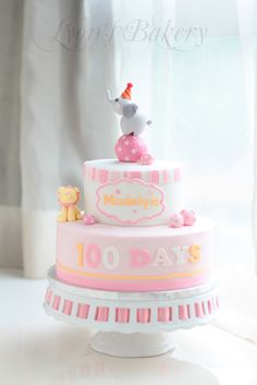 Pink & Yellow Girlie Circus Cake with Lion and Elephant (Madelyn)