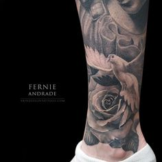 Dove, floral, flower, rose, ankle tattoo on TattooChief.com