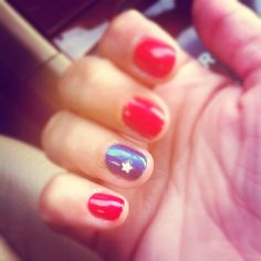 Patriotic nails with a twist of pink