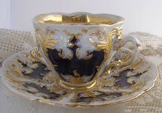 Vintage Antique Cobalt Blue Gold Gilt Meissen Cup and Saucer
