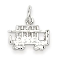 925 Sterling Silver Cable Car Charm Pendant - 14mm