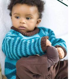PIN FOR LATER: Baby Knit Pullover   Free knit sweater patter from @joannstores