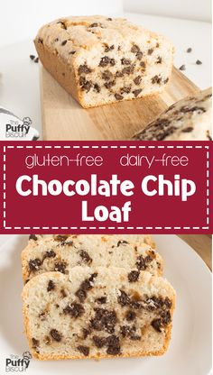 Gluten-Free Dairy-Free Chocolate Chip Loaf – The Puffy Biscuit – Famous Last Words Chocolate Chip Bread, Dairy Free Chocolate Chips, Chocolate Chip Recipes, Gluten Free Sweets, Gluten Free Cakes, Gluten Free Baking, Dairy Free Biscuits, Gluten Free Pumpkin, Vegan Pumpkin