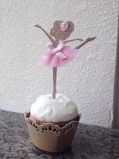 Ballerina Cupcake Toppers Dancer Cupcake by PoppiesandPaperShop