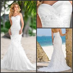 Wholesale A-Line Wedding Dresses - Buy - New Cheap 2013 Beach Sweetheart Fold Mermaid Wedding Gowns Court Train Applique Bridal Dresses 2877, $149.0 | DHgate
