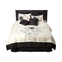 Floral 8 Piece Bedding Set - Black/White- Target