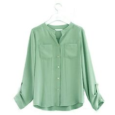 Feminino Casual gola manga comprida camisa do bolso Blusa - BRL R$ 30,31
