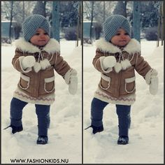 Cute Baby in Winter - Fashion for Women Stylish Baby Clothes, Winter Baby Clothes, Baby Winter, Winter Kids, Cute Little Girls, Cute Kids, Cute Babies, Baby Kids, Baby Outfits