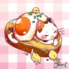 Would you like some eggs on your cat? 💖🍳🐱 . . . #foodart #foodanimals #eggs #friedegg #eggbenedict #sunnysideup #catlover #jennilustrations Cute Food Drawings, Cute Kawaii Drawings, Cute Animal Drawings, Manga Kawaii, Kawaii Cat, Anime Animals, Cute Animals, Cute Food Art, Arte Obscura