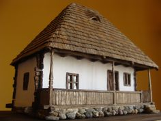 Casa taraneasca Horezu – replica scara (O) Old Country Houses, Medieval Houses, Traditional House, Interior Architecture, House Plans, Cottage, Outdoor Structures, House Design, Outdoor Decor