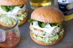 Cheddar, Jalapeno Chicken Burgers with Guacamole